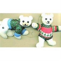 Felt Polar Bear Christmas Ornaments - $13.22