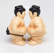Sumo Wrestlers Hand Painted Ceramic Magnetic Salt and Pepper Shaker Set - $12.74