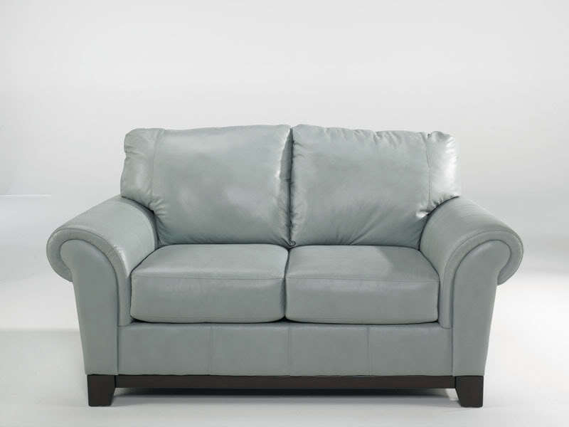 CONTEMPORARY BLUE GENUINE LEATHER SOFA COUCH SET