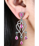 2.65Ctw Rose Cut Diamond Ruby Emerald  Silver Vintage Style Antique Earr... - $535.52