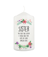 Personalised Floral Pillar Candle made to order - $25.00