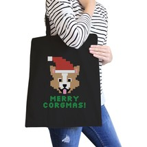Merry Corgmas Corgi Black Canvas Bags - $19.89 CAD