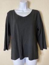 Liz Claiborne Womens Size XL Black V Neck T-Shirt 3/4 Sleeve  - $15.94