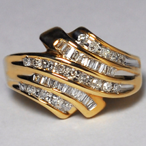 Natural Baguette Diamond Statement Bypass Band Ring Women 10K Yellow Gold - $790.00