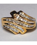 Natural Baguette Diamond Statement Bypass Band Ring Women 10K Yellow Gold - $790.00