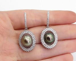 925 Sterling Silver - Freshwater Blue Pearl & Topaz Shiny Drop Earrings ... - $43.62