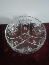 Vintage Bohemian Czech Cut Crystal Pinwheel Star Vertical Cut Footed Candy Dish - $56.09