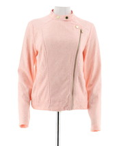 Isaac Mizrahi Stretch Lace Motorcycle Jacket Rosewater XL NEW A288650 - $56.41