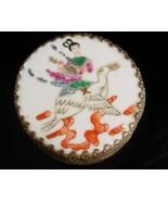 Chinese Enamel Box - Asian girl on bird - Oriental trinket case - antiqu... - $110.00