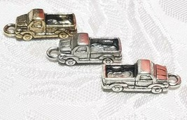 PICK UP TRUCK FINE PEWTER PENDANT CHARMS - 7mm L x 20mm W x 5.5mm D image 2