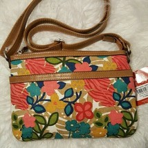 New Relic by fossil Topical Canvas Floral Multicolor Crossbody Handbag Summer  - $24.00