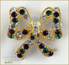 Eisenberg Ice Bow Shaped Red Green and Clear Rhinestones Christmas Pin (#J971) - $38.00
