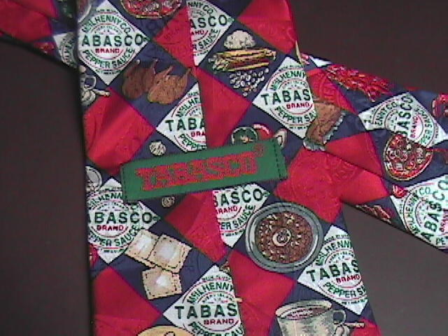 Tabasco Neck Tie Red Diamonds of Tabasco and Food