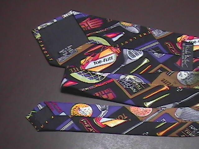 Nicole Miller Neck Tie Golf Theme Top Flite Equipment 1994 Silk Black Background