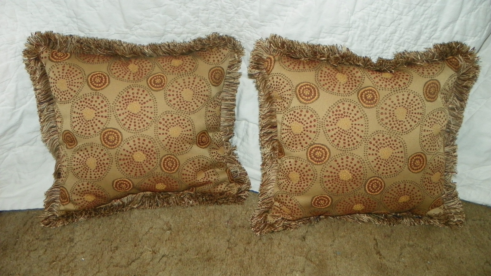 Pair Gold Russet Retro Print Pillows / Throw Pillows 15 x 15 - Pillows