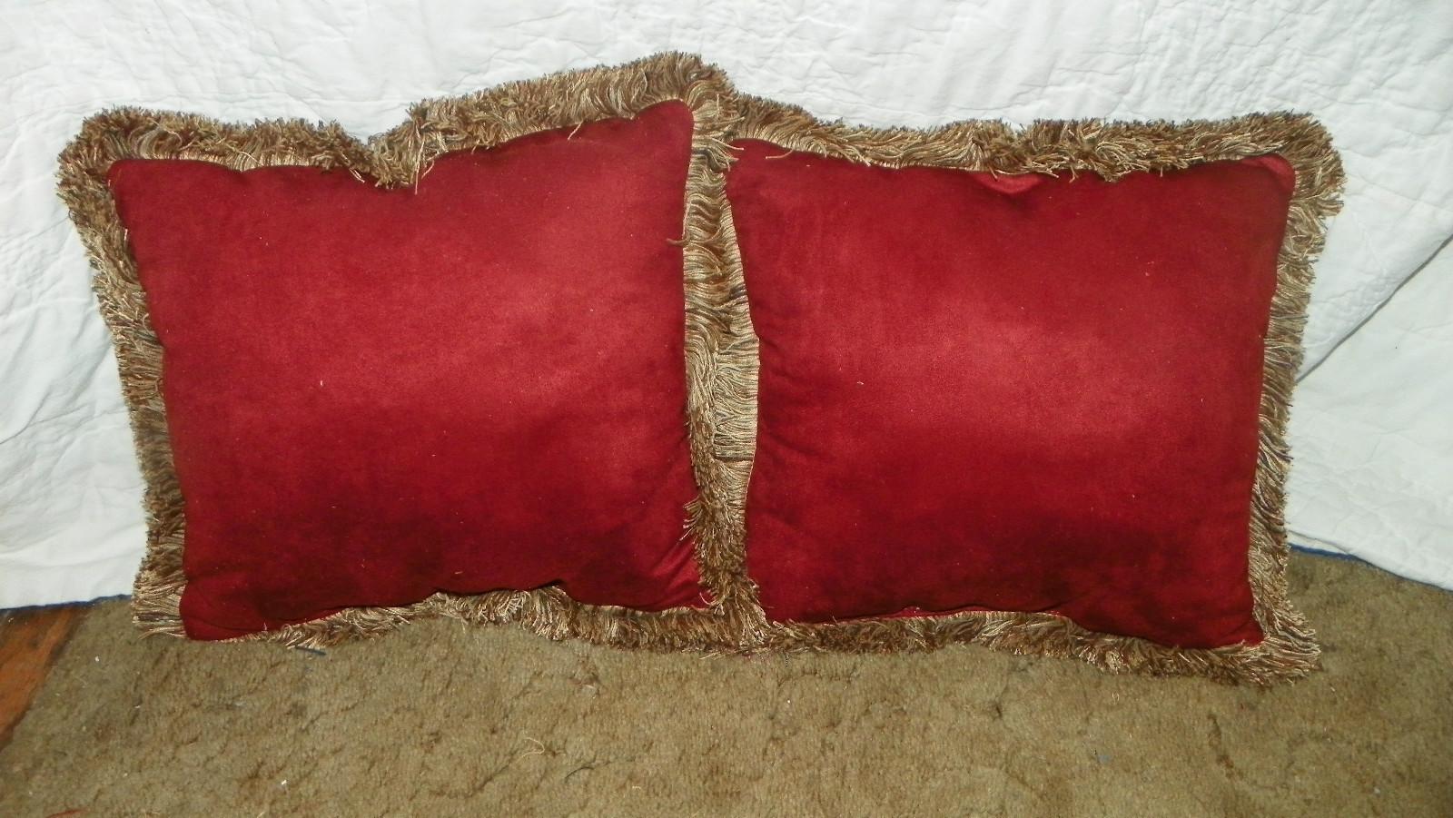 Pair Gold Russet Retro Print Pillows / Throw Pillows 15 x 15 - Pillows
