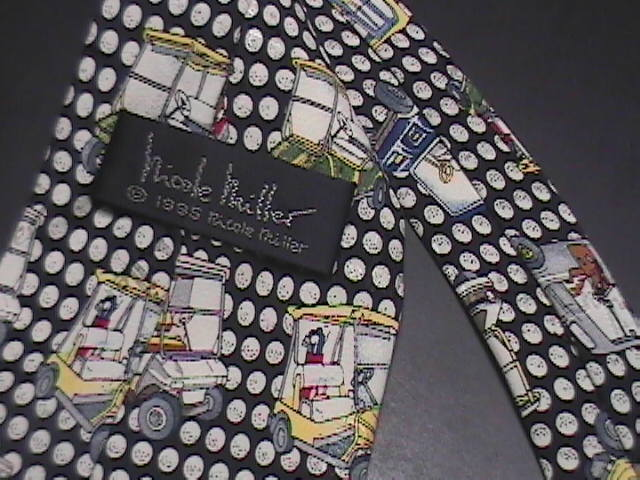 Nicole Miller Neck Tie Repeating Colorful Golf Carts 1995 Black Dimpled Balls