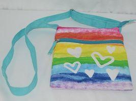 Three Cheers For Girls Brand 29170 Turquoise Rainbow White Hearts Cross body Bag image 6