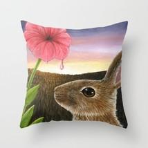 Throw Pillow Case Cushion cover Made in USA Hare 58 rabbit flower art L.Dumas - $29.99+