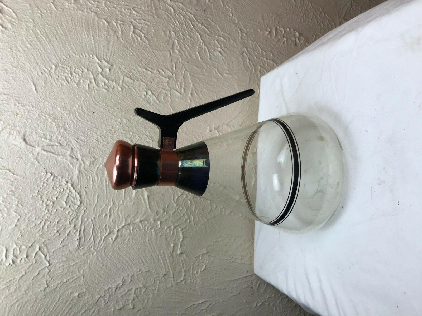 Vintage Large Coffee/Tea Pot Copper Cork Lid~Glass Carafe ~48 Oz.