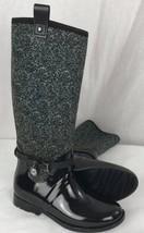 Michael Kors MK charm black rubber stretch tall rain boots shoes size 6M - $74.36