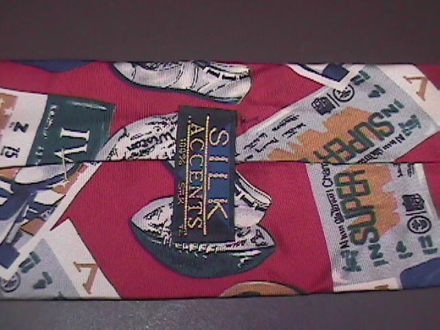 Silk Accents Neck Tie Red with Super Bowl Theme