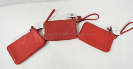 Coach F66505 Double Zip Leather Small Wallet/Wristlet in Silver/Red or Gold/Red - $79.00