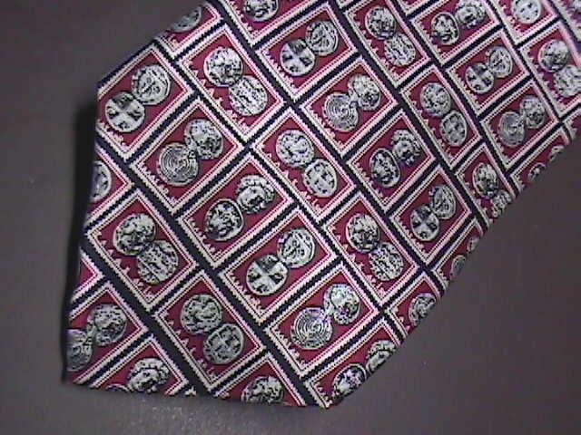 Museum Artifacts Neck Tie Ancient Stamps Handmade Silk Maroonish Reds White