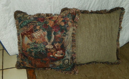 Pair of Tea Table Print Pillows / Throw Pillows  20 x 20 - $59.95