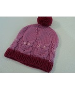 Handcrafted Knitted Baby Hat Pink/Cranberry Pom Pom 100% Wool Female 6-1... - $31.07