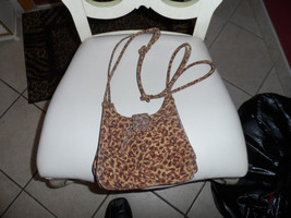 small Liz Claiborne brown leopard print shoulder bag - $9.50