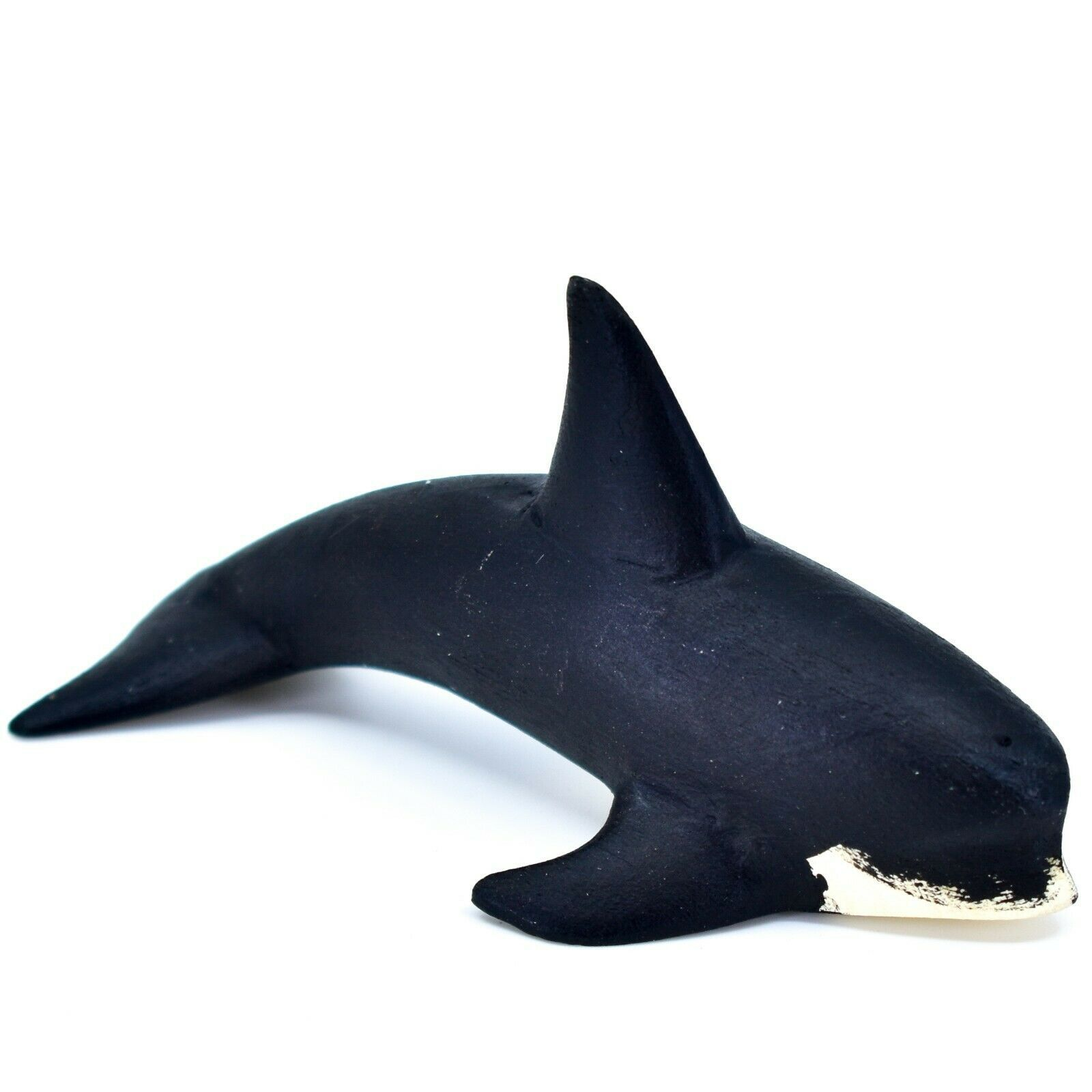 Handmade Alebrijes Oaxacan Wood Carved Black & White Orca Killer Whale Figurine
