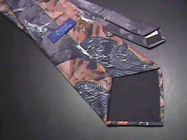 Animal Tracks Neck Tie Vultures in Browns and Grays