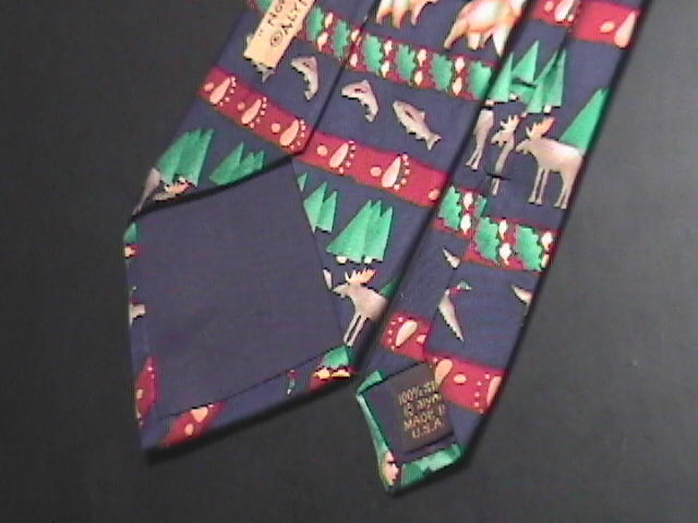 Alynn Neckwear Neck Tie Titled North Country Silk Moose Bears Salmon Geese