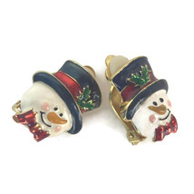 Pair Snowman Holly Christmas Holiday Clip On Earrings Costume Jewelry Ma... - $17.72