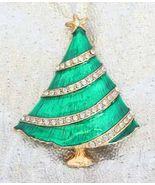 Elegant Art Moderne Crystal Rhinestone Enamel Christmas Tree Brooch 80s ... - $14.80