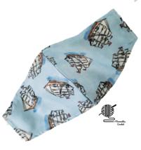 Sailboat Face Mask Nautical Schooner Coastal Blue Cotton Facemask Handma... - $10.00