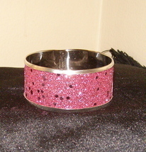 Beautiful Bangle Inlaid Bracelet Fuchsia Pink Sparkles
