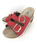 CL Chinese Laundry 7 M Red Wedge  Heel Sandals Buckle Slides Shoes  - $49.49