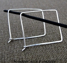 Square Hoop Earrings. Sterling Silver Geometric Hoops - $28.00
