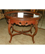 Solid Walnut Carved Coffee Table with Glass Serving Tray  (CT6) - $499.00