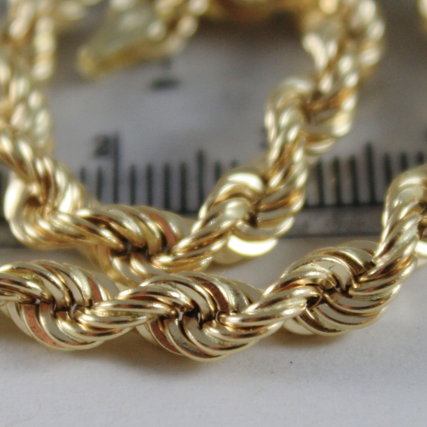 18K YELLOW GOLD BRACELET BIG 5 MM BRAID ROPE LINK, 7.50 INCH LONG, MADE IN ITALY