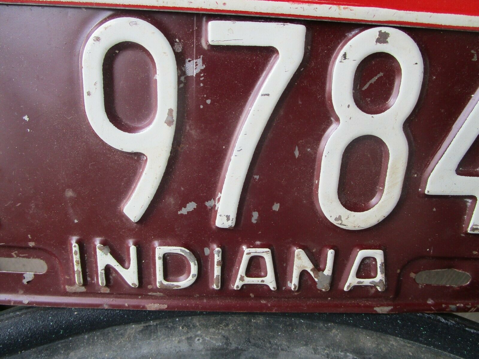 Vintage 1954 Indiana Trailer License Plate w/ 55 Tag 9784 7266 Airstream Shasta image 4