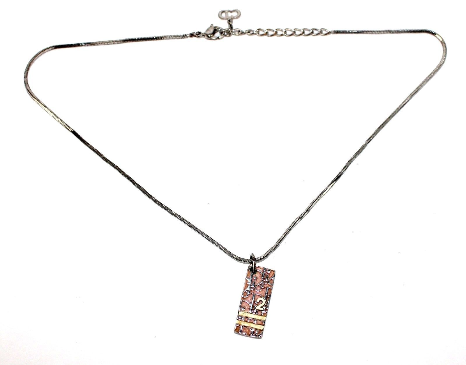 AUTHENTIC Christian Dior Logo SS Sliver Pink Chain Necklace pendant - $79.20