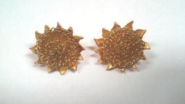 Vintage Mid-Century Goldtone Sunburst Clip On Earrings - $145.00
