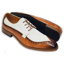 Handmade Men's Brown & White Leather Dress/Formal Oxford Shoes image 1