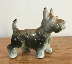 Vintage Japan Scottie Dog Scottish Terrier Glazed Porcelain Figurine Fig... - $36.99