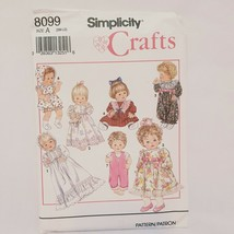 Baby Dolls Clothes Size SM-LG Simplicity Sewing Pattern 8099 Uncut 1992 Dress - $15.99