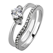 HCJ SILVER TONE 0.50 CARAT 3 STONE CZ ENGAGEMENT & WEDDING RING SET SIZE... - $14.39