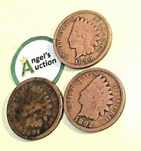 Indian Head Penny 1890,  1891, and  1892 AA20-CNP7025 Antique
